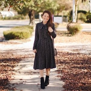 Merry Modest Aria Ribbed Sweater Dress With Tie